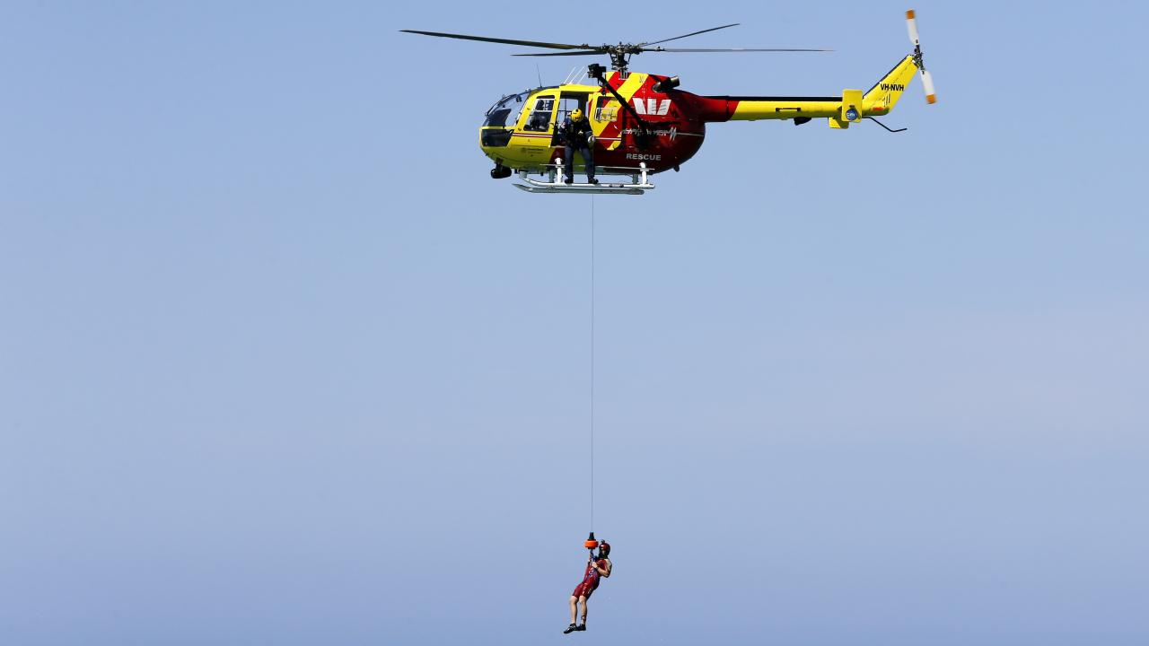 Official launch of the surf lifesaving season at Kurrawa beach. Helicopter rescue demonstration. Picture: JERAD WILLIAMS
