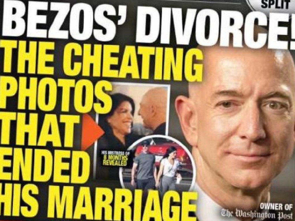 Jeff Bezos featured on the front page of the National Enquirer.