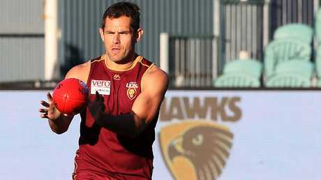 Luke Hodge at Brisbane training. Picture: Chris Kidd