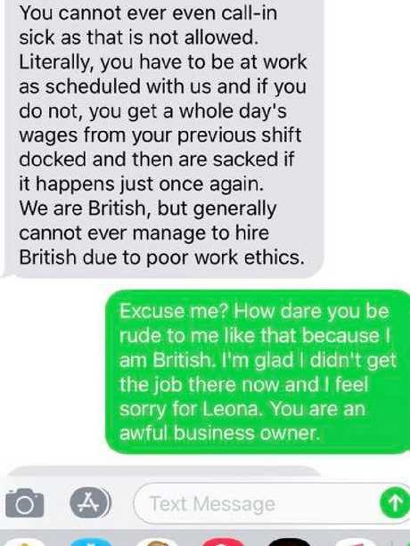 Jobseeker Victoria Atkins shared a series of shocking texts allegedly from the owner of Intenso Espresso. Picture: Facebook