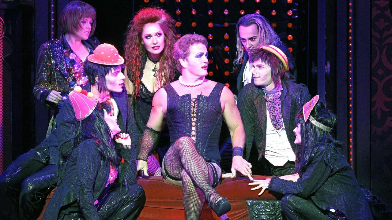 Craig McLachlan, front and centre with the 2014 cast of The Rocky Horror Show. Picture: Jeff Busby, supplied