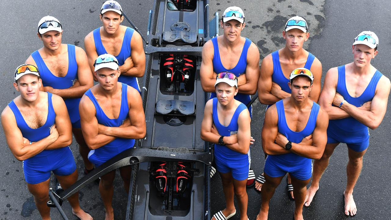 Nudgee College's first eight boat crew (from left) Leyton Friedrich, Dylan Rhodes, Zane Kirk, Tom Enders, Pat Long, Darcy Carmody, Sam Green, Ethan Ferraro and Dylan Dunne. Picture: John Gass/AAP