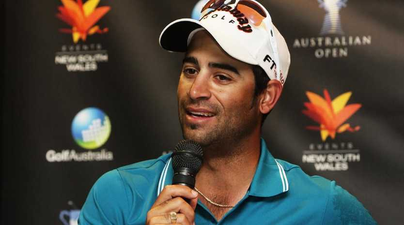 Golfer James Nitties speaks at press conference following practice round for the Australian Open tournament at the NSW Club course in Sydney.