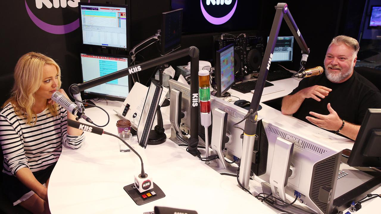 Kyle Sandilands and Jackie O in their KIIS FM studio.