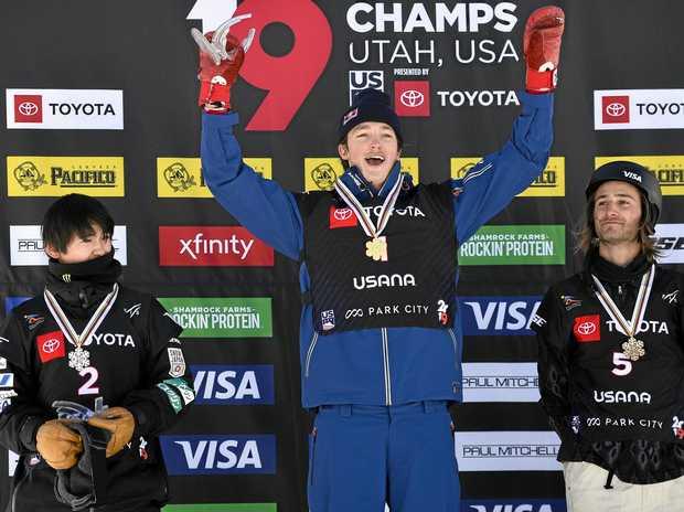 Silver medallist Yuto Totsuka, gold medallist Scotty James and bronze medallist Patrick Burgener on the podium at Park City, Utah. Picture: Alex Goodlett/AP