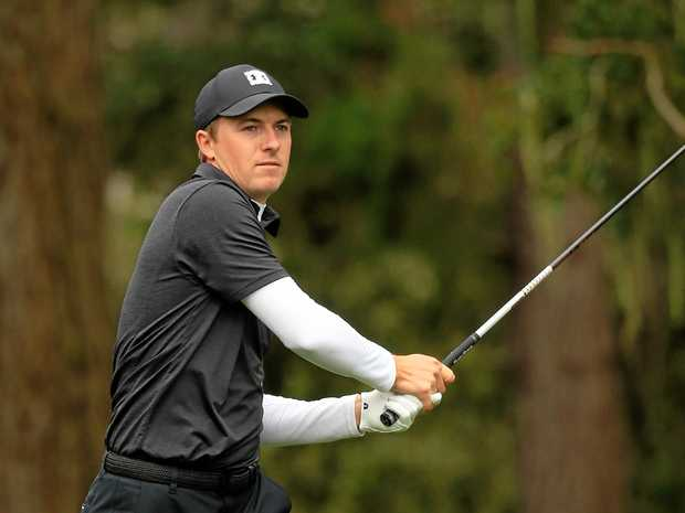 Jordan Spieth plays his shot from the 13th tee during the second round of the AT&T Pebble Beach Pro-Am at Spyglass Hill Golf Course in Pebble Beach, California. Picture: Chris Trotman/Getty Images