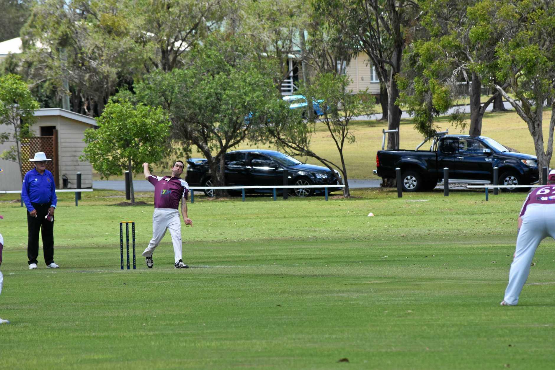 Gympie regional cricket association Valleys v Colts - Colts bowler Anthoney Smerdon.