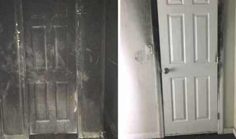 The evidence is black and white, literally. The same door left, pictured burnt from the hallway and right, inside the closed bedroom where the fire could not get to. Source: Facebook.