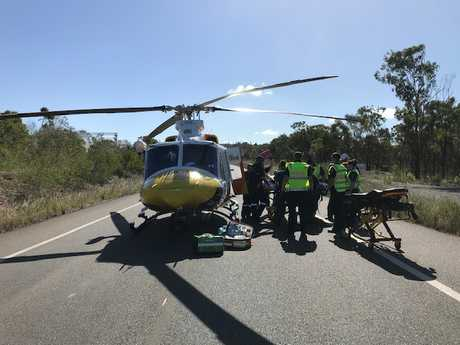 RACQ Capricorn Helicopter Rescue Service was called to the scene of a car accident at Red Rover Rd this afternoon.