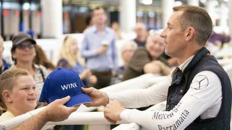 Jockey Hugh Bowman greets Winx fans after the Randwick hitout. Picture: Darren Leigh Roberts