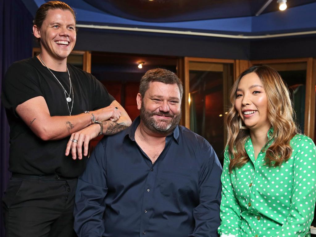 SKY TVs Paul Murray with Dami Im and Conrad Sewell, who will give a live, on location performance and interview during the broadcast of Paul Murray Live. Picture: Tim Hunter.