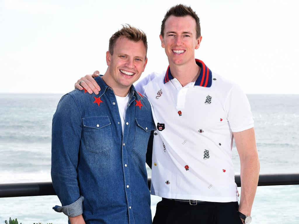 Anthony Ikin, dancer/choreographer and Peter Cunningham, TV producer near their home in Main Beach.  (AAP image, John Gass)