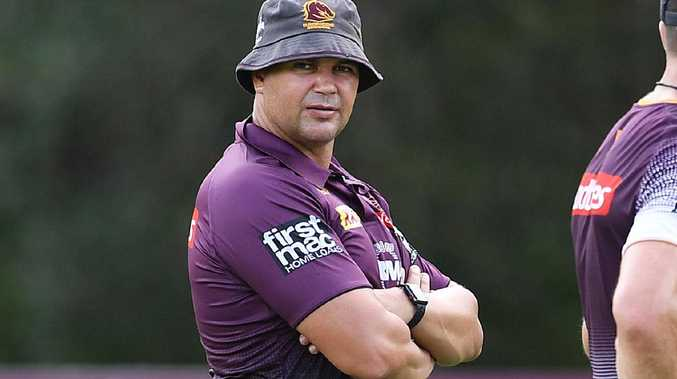 Coach Anthony Seibold watches over a Broncos pre-season training session. Picture: AAP