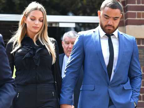 Manly player Dylan Walker and partner Alexandra Ivkovic leave court in December last year. Picture: Mick Tsikas/AAP