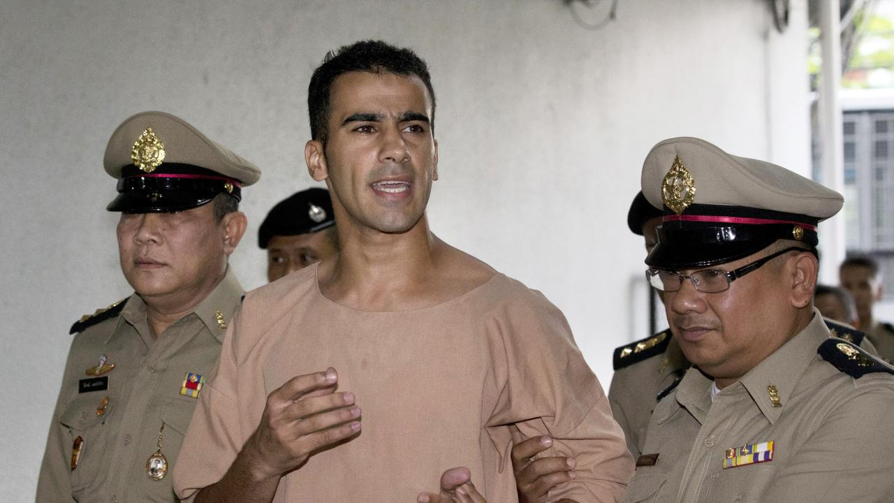 Detained Bahraini soccer player Hakeem al-Araibi arrives at the criminal court in Bangkok. Picture: Sakchai Lalit/AP