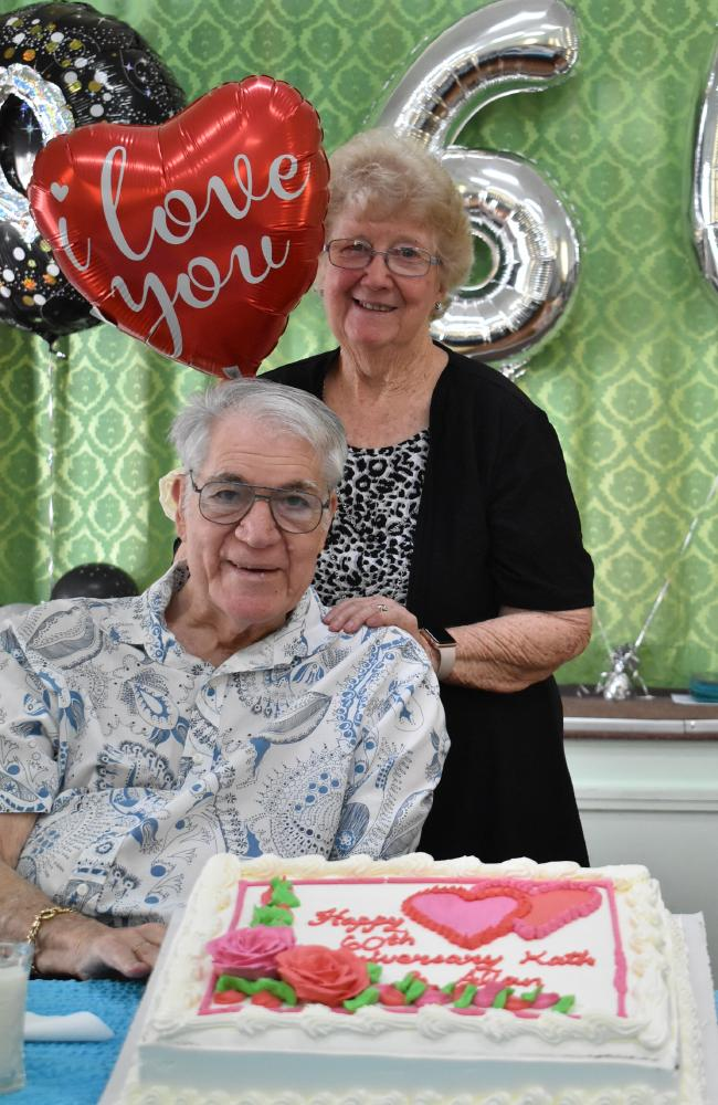 Allan and Kath Male at their 60th wedding anniversary celebration at Boondall Church of Christ. Picture: Coralie Just