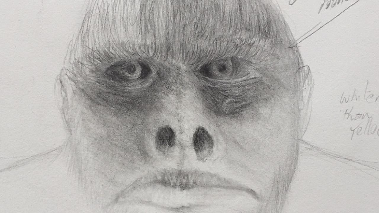 A work in progress sketch by artist Buck Buckingham based on witness descriptions of the Yowie.