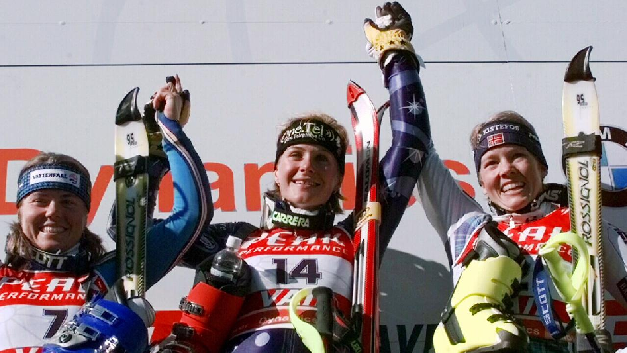 Zali Steggall (centre) on the podium after winning the women's slalom at the World Alpine Championships in 1999.