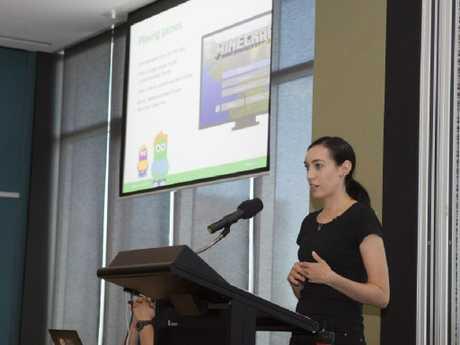 AFP Online Child Safety Team leader Simone McKeough gives a presentation.
