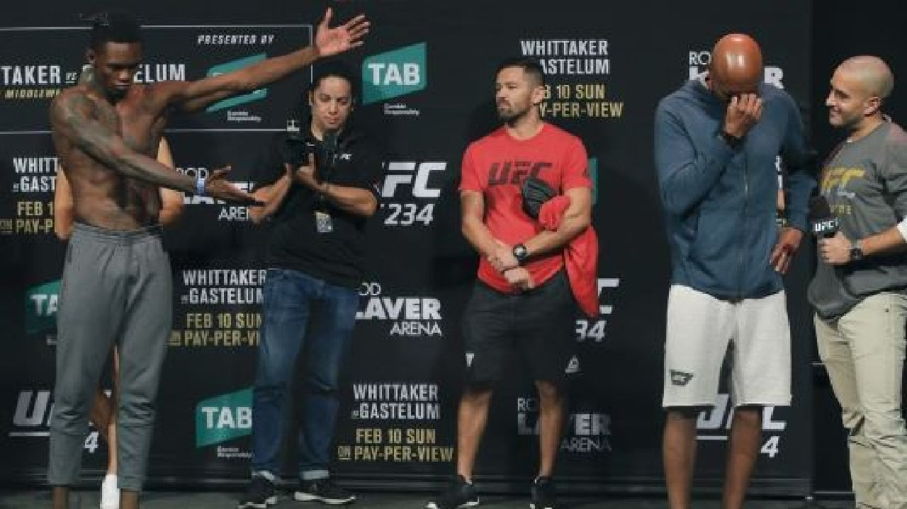 Anderson Silva breaks down following the weigh-in ahead of UFC 234. Picture: UFC
