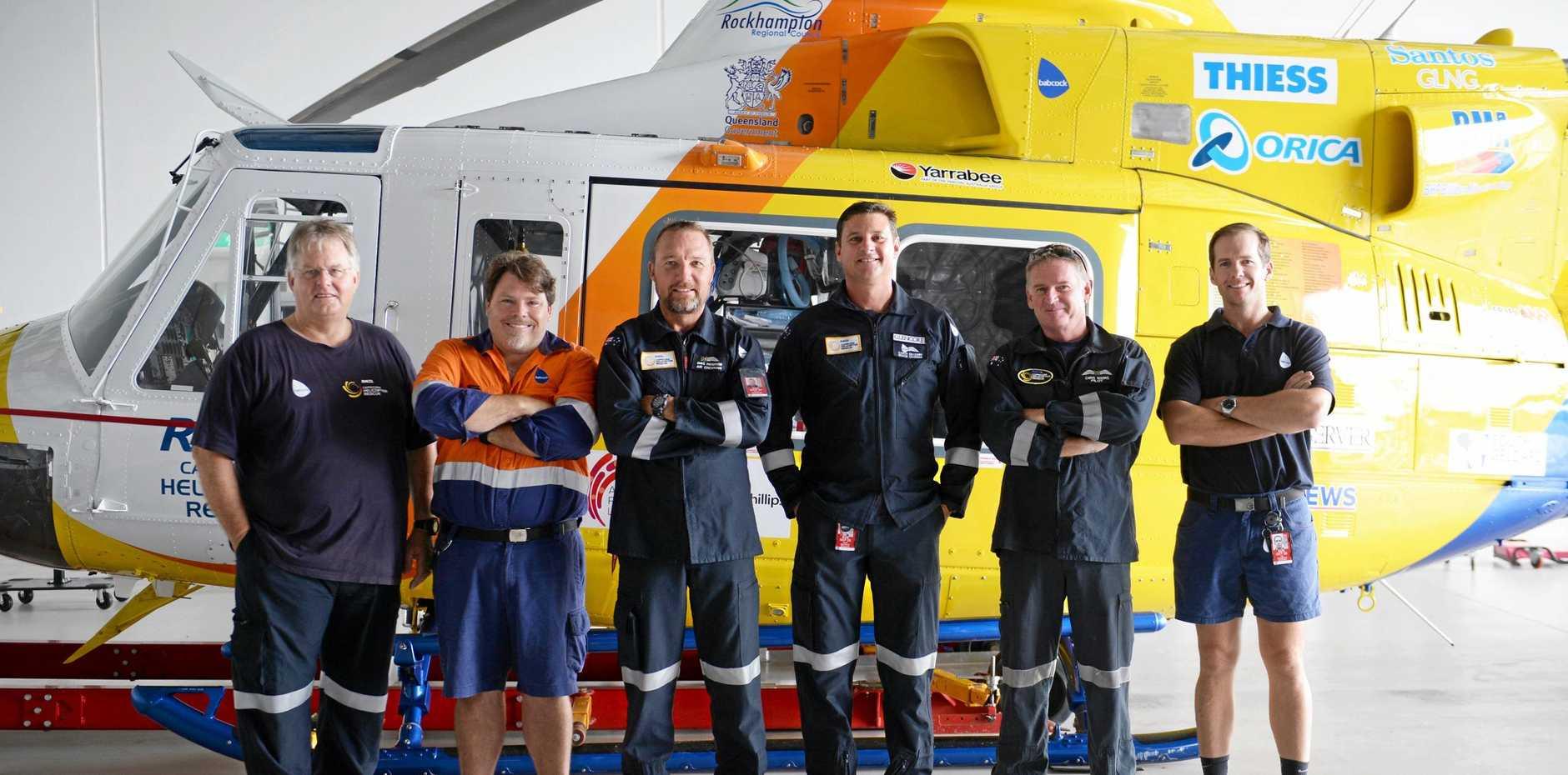 RACQ Capricorn Helicopter Rescue crew members Mitch Vernon, Derek Tessmann, Dave Paterson, Garth Snaidero, Chris Manns and Joe Chandler .
