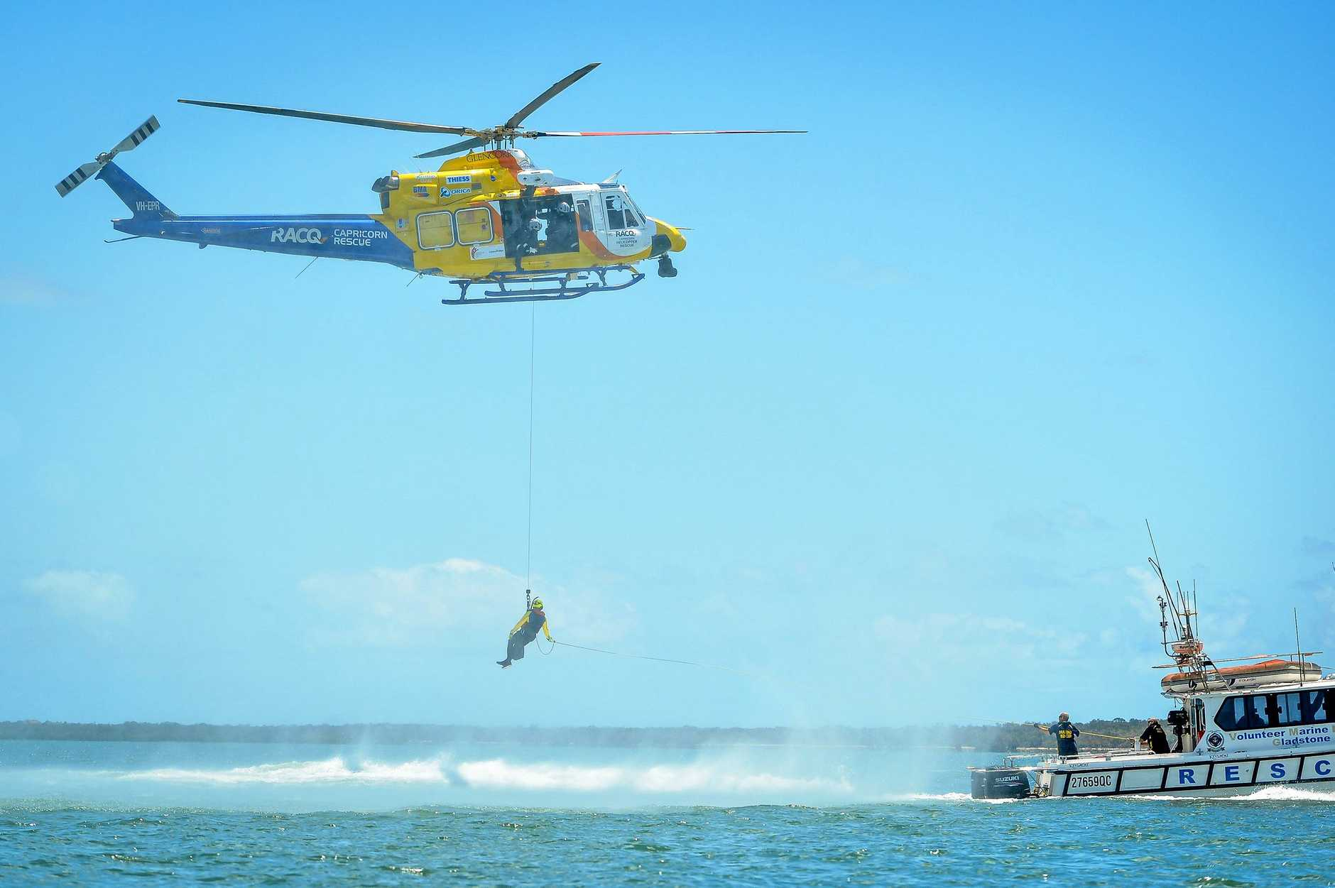 The RACQ Capricorn Helicopter Rescue Service held a training exercise in conjunction with Gladstone's Volunteer Marine Rescue on Saturday November 17.