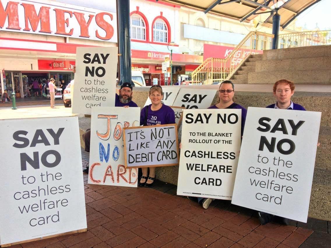 PROTEST: Cashless Debit Card protesters in the Bundaberg CBD.