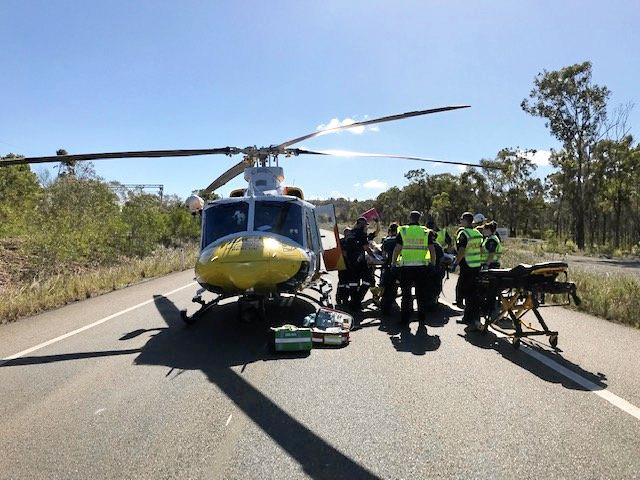 RACQ Capricorn Helicopter Rescue Service flew a man in his 20s to hospital after he was involved in a car accident on Red Rover Rd Saturday afternoon.