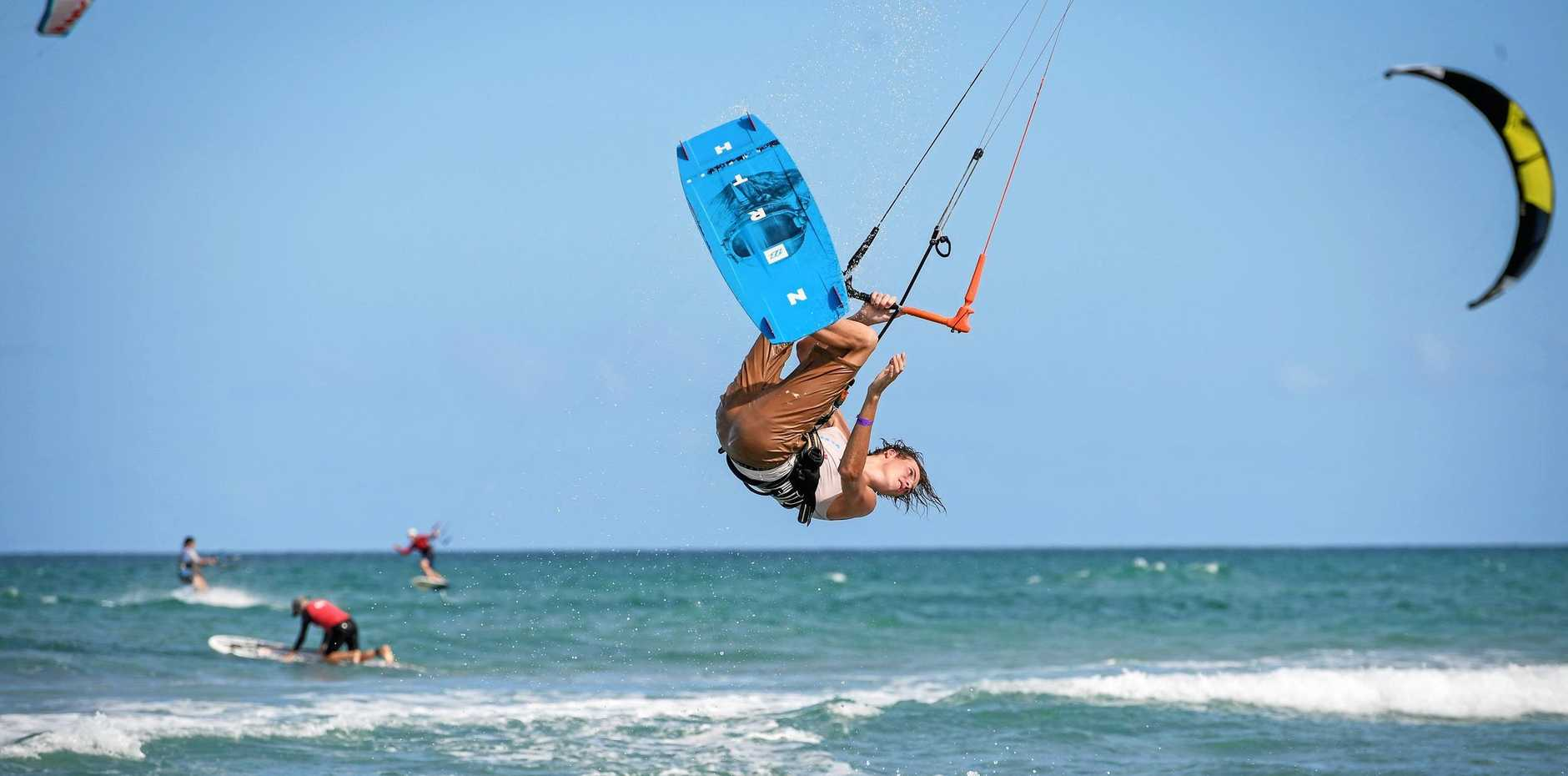 KITE HEIGHT: Sunshine Coast's Ryan Parsons was able to get some air time in the light conditions on Saturday.