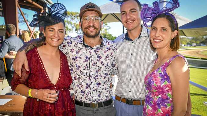 Emily, Brayden, Attie and Aleta Pointon at the family fun day and twilight races.
