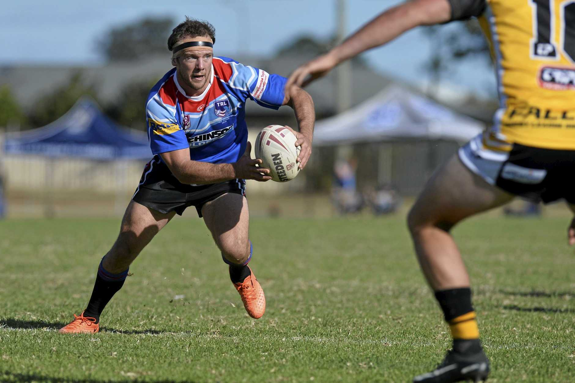 HOOKER: Ben Sullivan in possession for Toowoomba Clydesdales against Sunshine Coast Falcons last year. He is again in the Clydesdales for Saturday's Broncos curtain-raisers in Warwick.