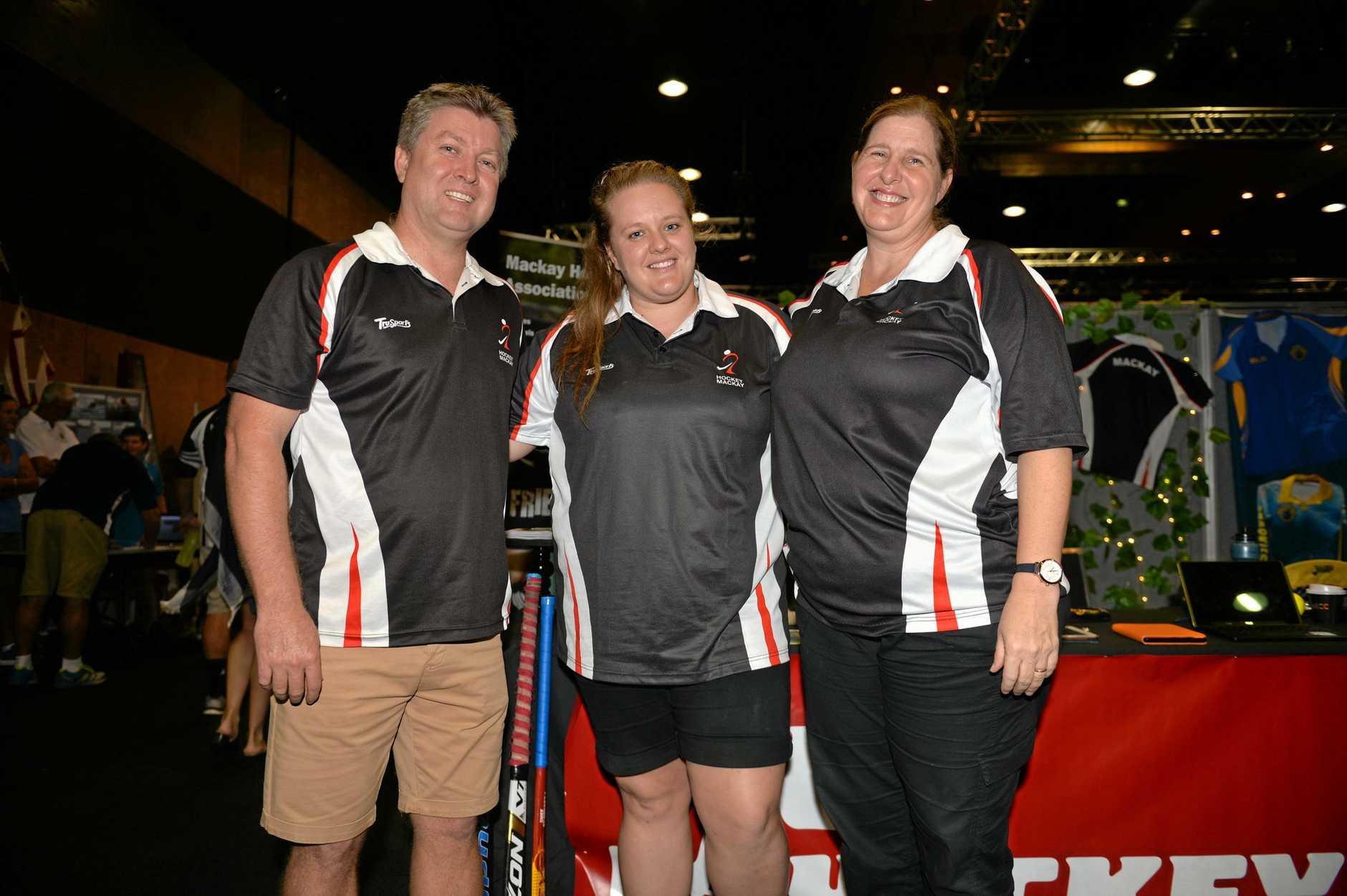 Justin Spyve, Elizabeth Bridgeman and Antoinette Westcott from Mackay Hockey.