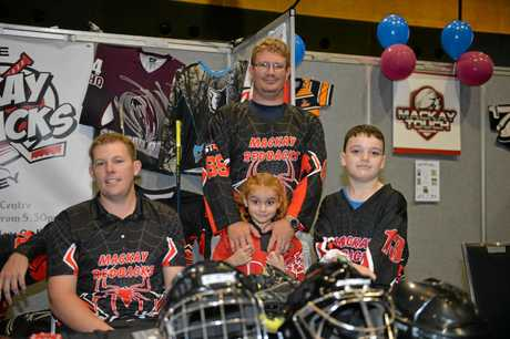Zach Roberts, Amara Avenell Aaron Avenell and Toby McQueen from Mackay Redbacks Inline Hockey.
