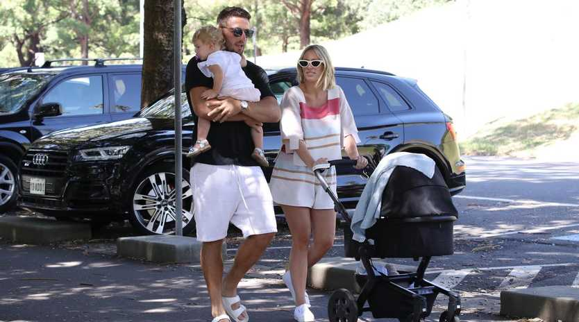 Sam and Phoebe with their two kids yesterday.