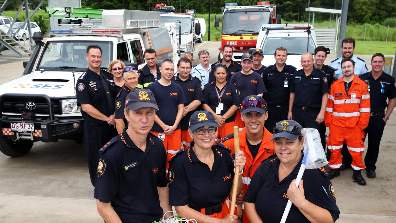 SES volunteers Manfred Richter, Mandy Sapper, Mark Aylett and Colleen James who are part of the convoy of SES volunteers and fire fighters who are traveling to Townsville to help clean up after the floods Picture: Anna Rogers