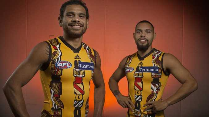 Cyril Rioli and Jarman Impey in Hawthorn's indigenous Round jumper. Picture: Michael Klein