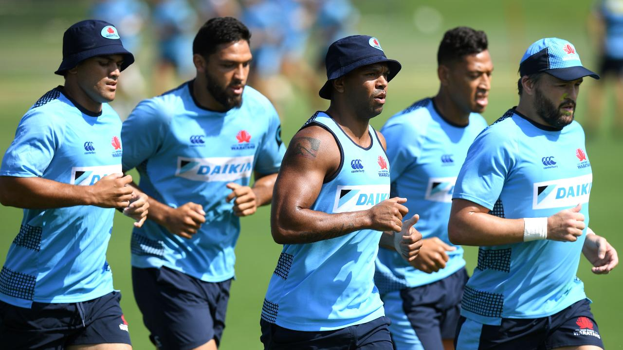 (L-R) NSW Waratahs players Karmichael Hunt, Curtis Rona, Kurtley Beale, Israel Folau and Adam Ashley-Cooper.