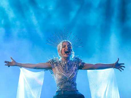 Kate Miller-Heidke credited the diehard Eurovision fans at the selection shows and rehearsals for giving her the lift she needed for her scene-stealing performance. Picture: AAP