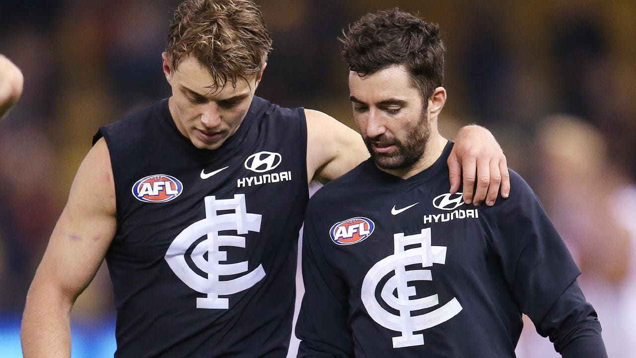 Patrick Cripps and Kade Simpson after a loss. Picture: Michael Klein