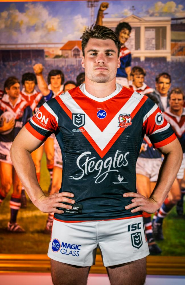 Recruit Angus Crichton will make his club debut in the UK. Picture: Roosters Digital.