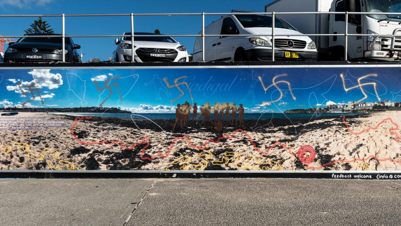 "The graffiti has been branded ""blatant racism': Picture: Monique Harmer"