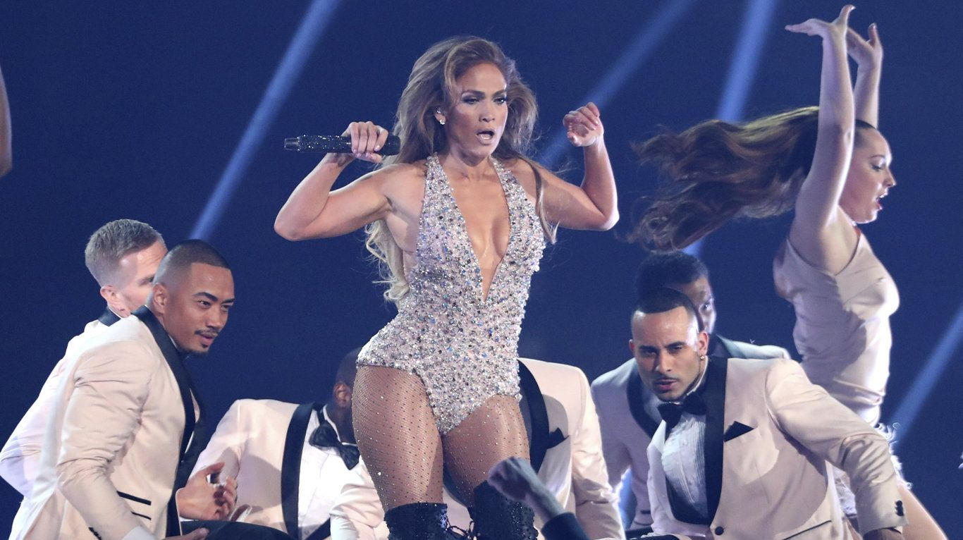 Jennifer Lopez performs a medley during a tribute to Motown's 60th anniversary at the 61st annual Grammy Awards in Los Angeles.