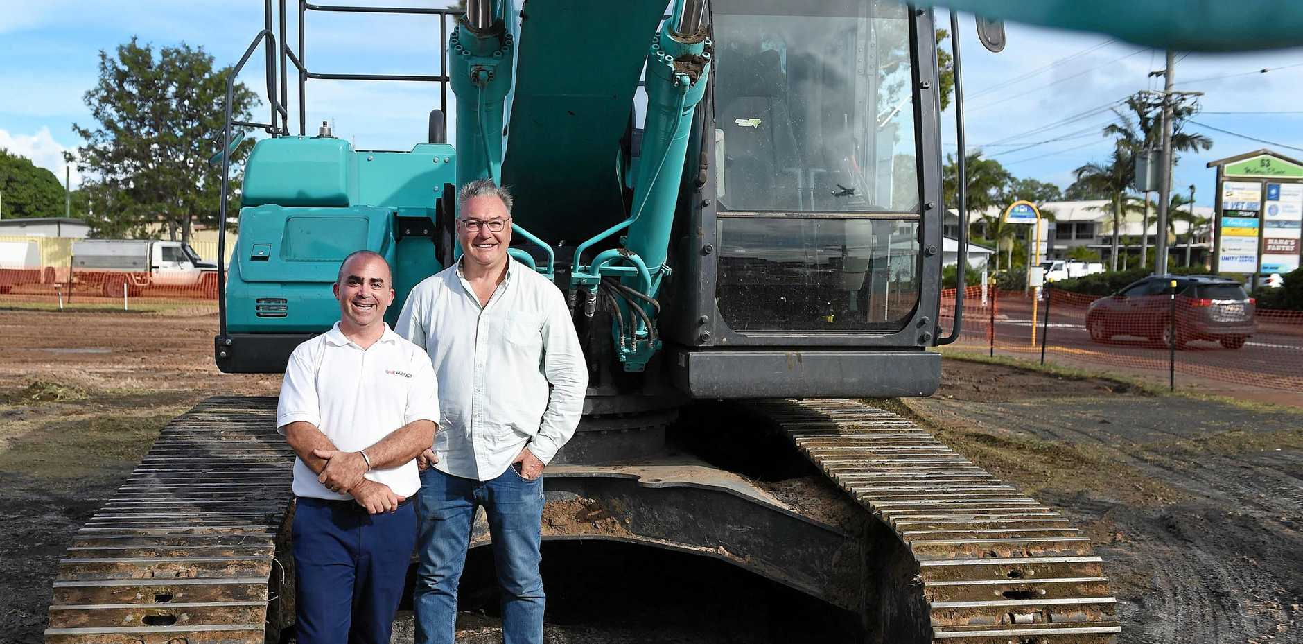 One Agency Hervey Bay owner Damian Raxach and PIA developer Alan Winney on site of The Avenue - a $10 million office development expected to be completed by August.