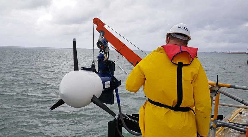 PHASE 1: The MAKO Tidal Turbine installed at the Barney Point terminal will undergo a six-month trial period.