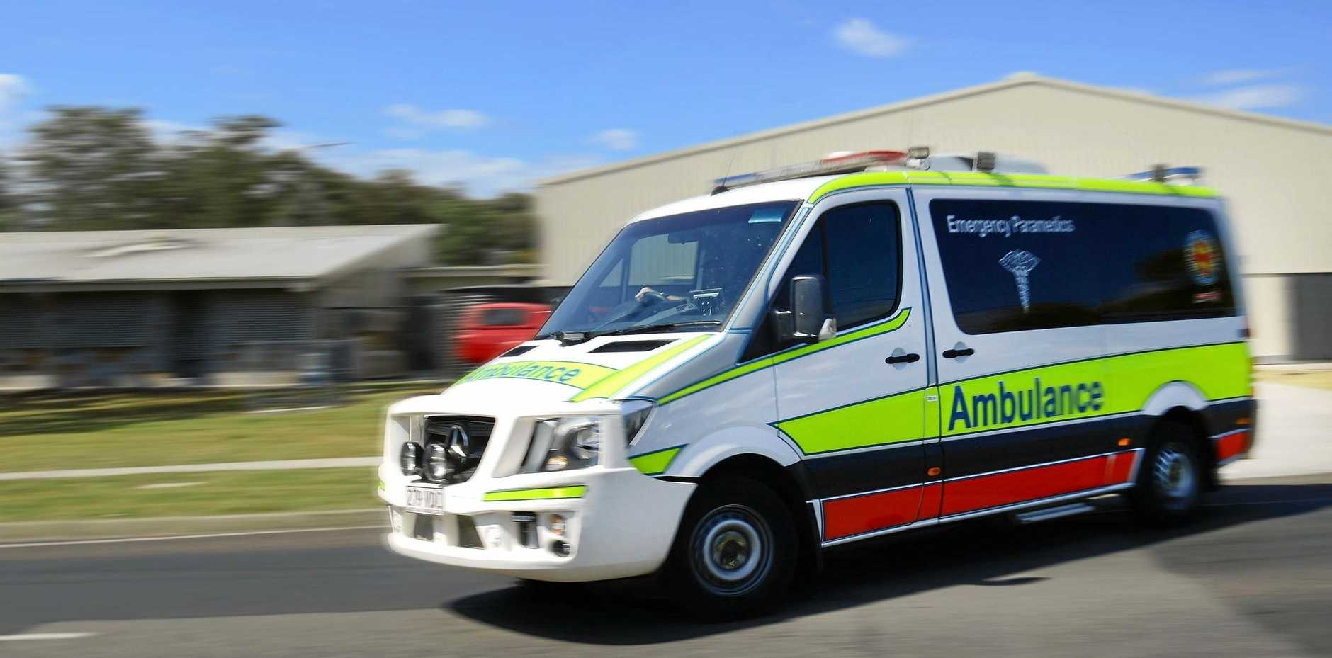 A cyclist has been transported to the Mackay Base Hospital this morning after being struck by a car.