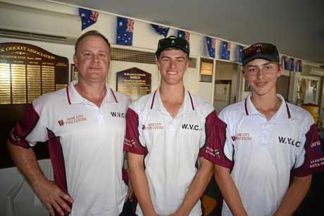 Wheatvale trio Col O'Brien with the Boal brothers, Lachlan and Ryan, at Slade Park after a win against Victoria Hill.