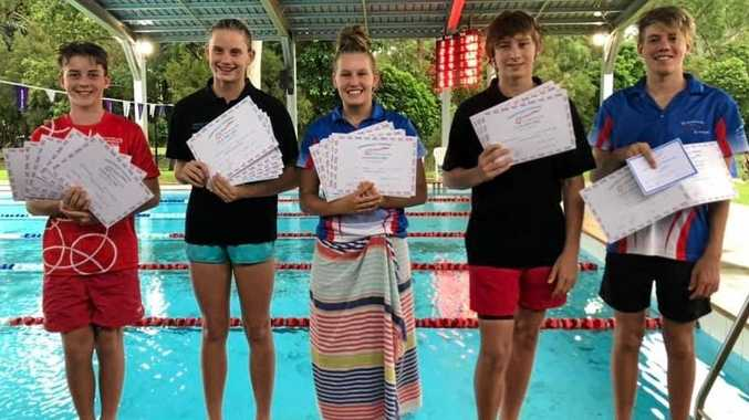 IN THE FAST LANE: Cannons swimmers Jy Parkinson, Mikhaila Flint, Eden Hedges, Jacob Dewis and Gus Hedges.
