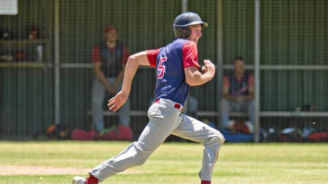 Brenton Althaus, Rangers. Baseball, Toowoomba Rangers vs Redcliffe Padres. Sunday, 13th Jan, 2019.