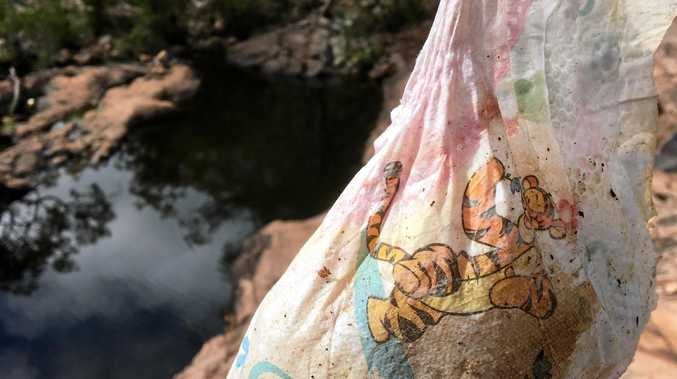 DISGUSTING: Biggenden bush walking guide Moira Thompson was greeted by soiled nappies and smashed beer bottles when she went to Waterfall Creek at Utopia.