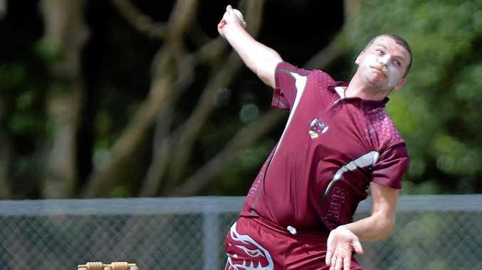 HITTING THE CREASE: Caboolture bowler Matthew Parkinson.